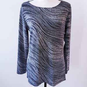 Chico's Sparkly Silver Zebra Print Top, Size 1